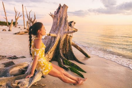 Woman Key West Beach Yellow Dress