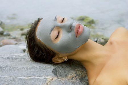 Woman Outside Wearing Mud Mask