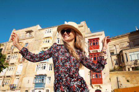 Woman Travel Malta Printed Dress