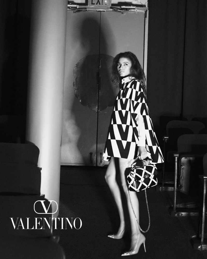 Actress Zendaya poses in optical print for Valentino fall-winter 2021 campaign.
