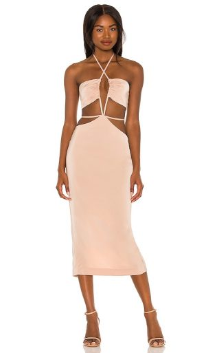 h:ours Enza Midi Dress in Nude. - size M (also in L, S, XL, XS, XXS)