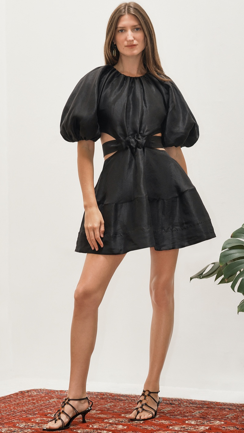 Aje Psychedelia Cut Out Mini Dress in Onyx $525