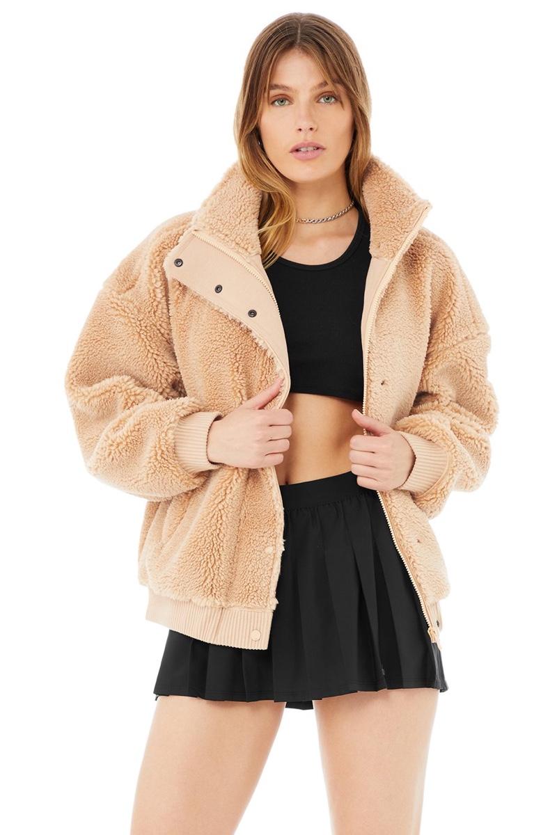 Alo Sherpa Varsity Jacket in Camel $198