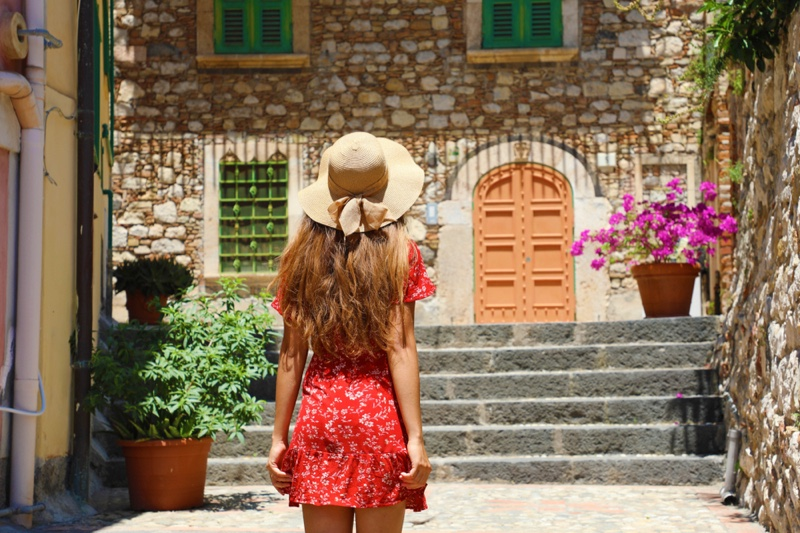 Back Woman Red Dress Straw Hat Sicily