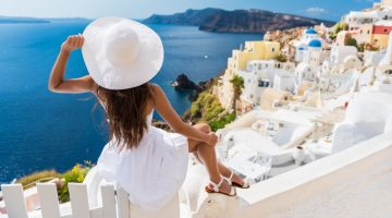 Back Woman White Dress Hat Travel Greece Santorini