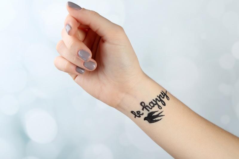 Be Happy Bird Tattoo