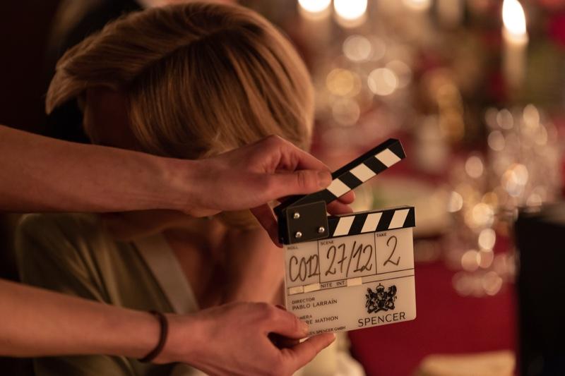 Kristen Stewart behind the scenes on SPENCER. | Photo Credit: Courtesy of NEON