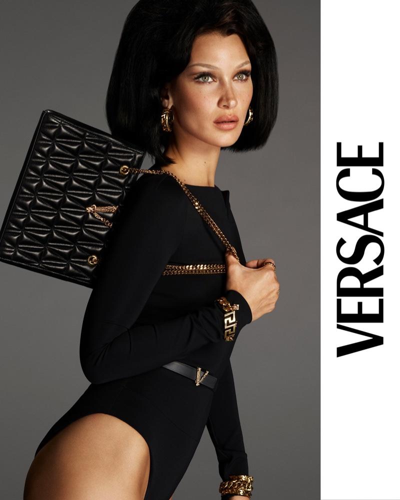 Bella Hadid stars in Versace Virtus handbag 2021 campaign.