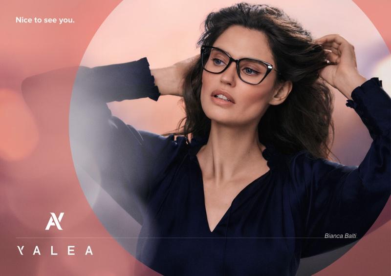 Model Bianca Balti poses for Yalea Eyewear fall-winter 2021 campaign.
