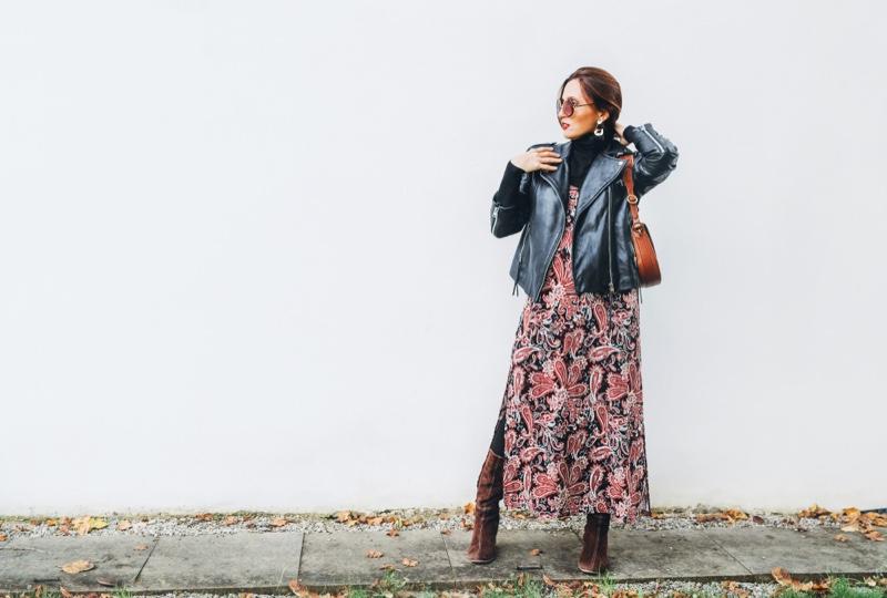 Boho Style Leather Jacket Printed Dress Layers