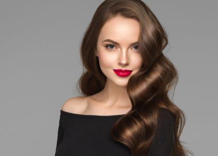 Brunette Woman Glamorous Healthy Hair Red Lipstick