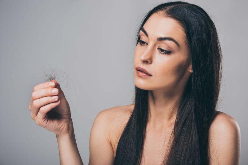 Brunette Woman Hair Loss