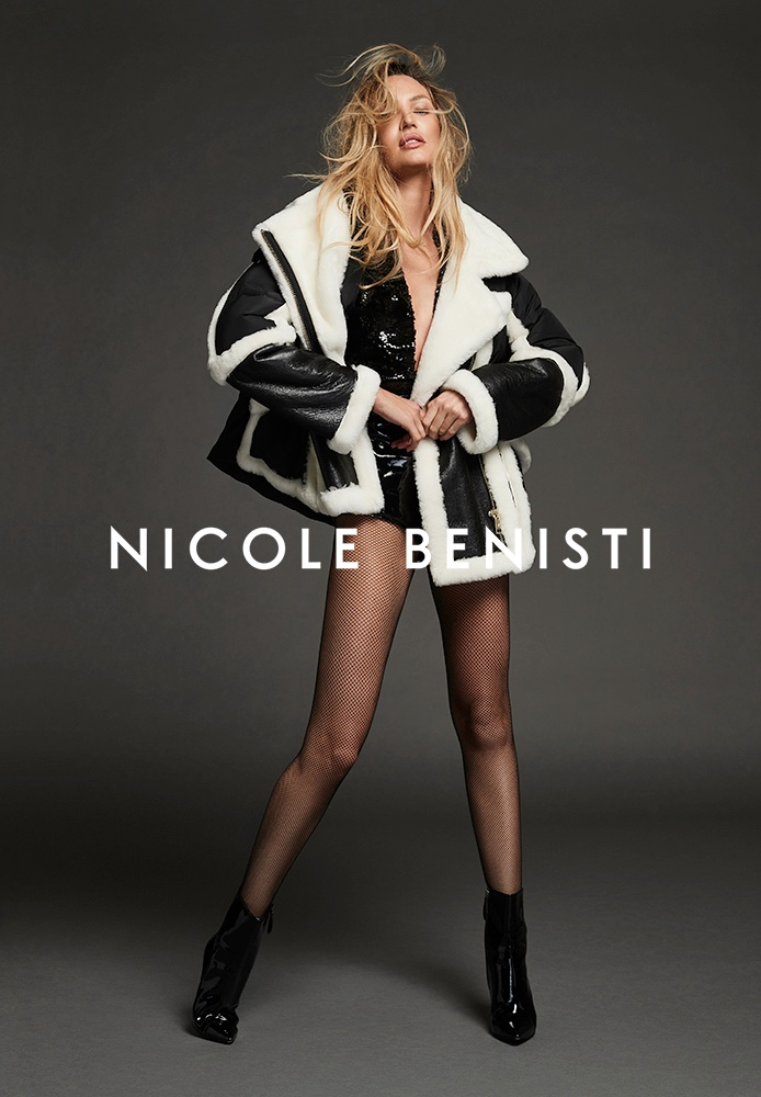 Flaunting her legs, Candice Swanepoel poses for Nicole Benisti fall-winter 2021 campaign.