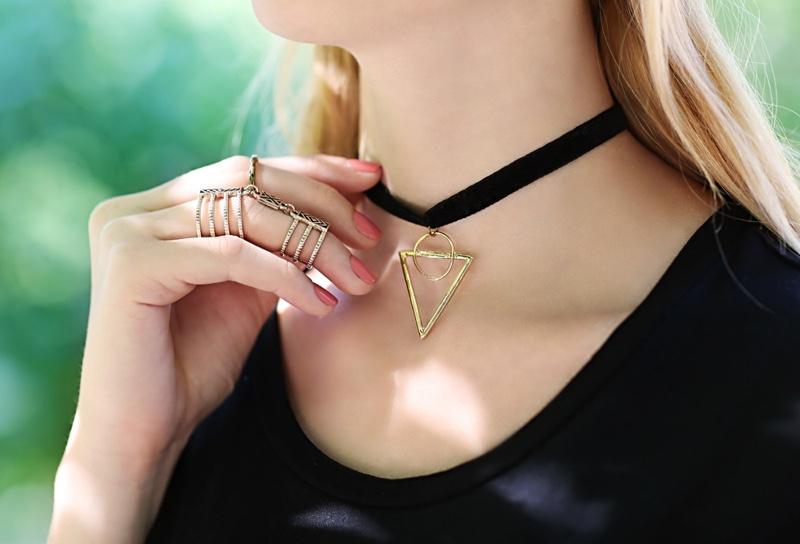 Closeup Choker Necklace Triangle Circle Pendant Rings
