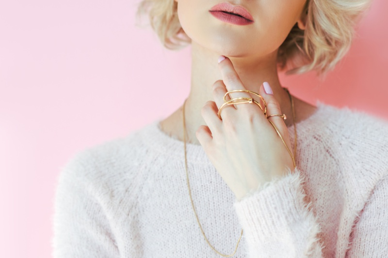 Closeup Gold Thin Jewelry Minimal