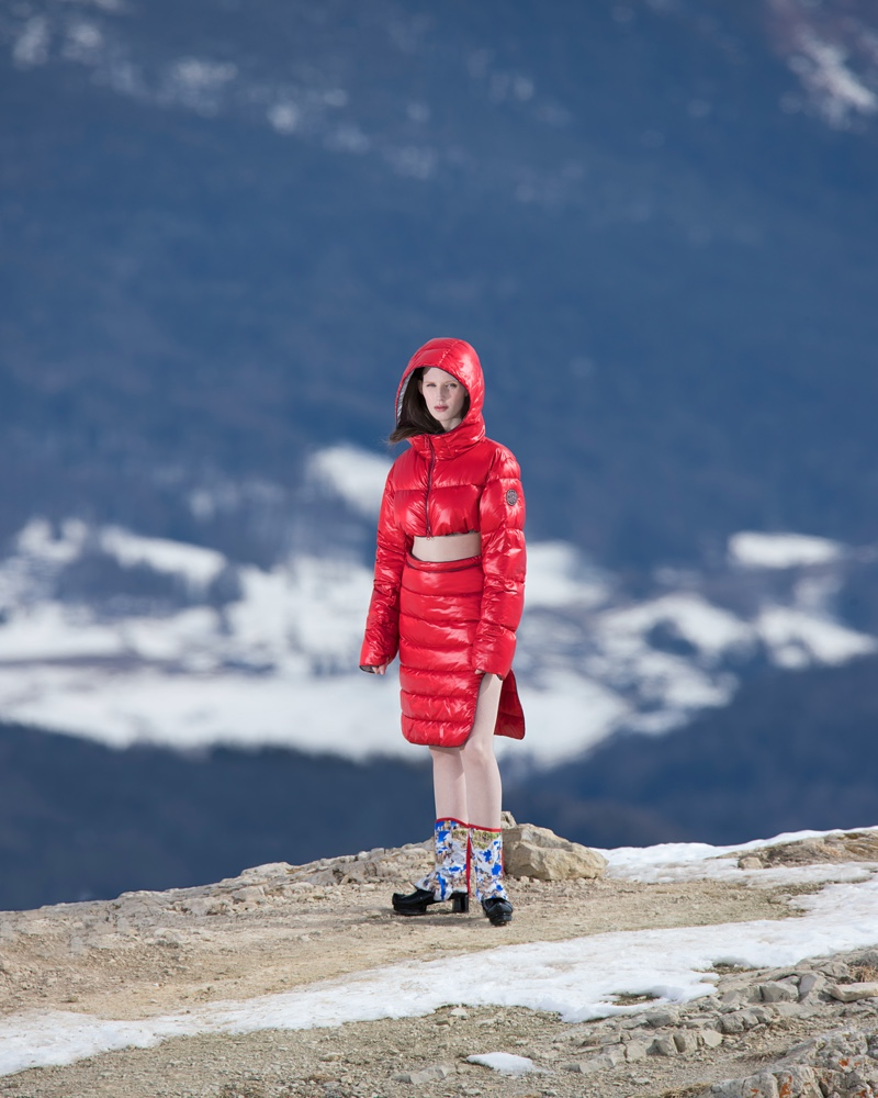 Winter style gets an overhaul as Lina Simonsen dons a Colmar A.G.E. by Morteza Vaseghi padded skirt with gaiters.