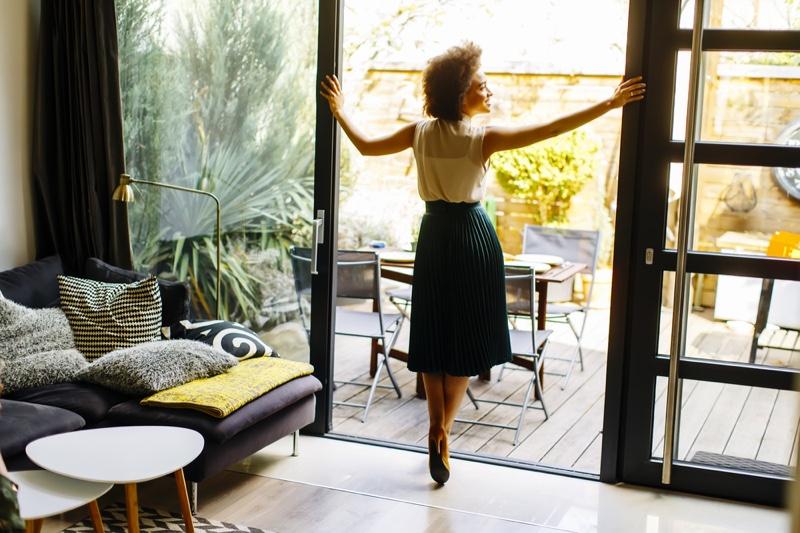 Curly Hair Woman Home Patio Doors Decor