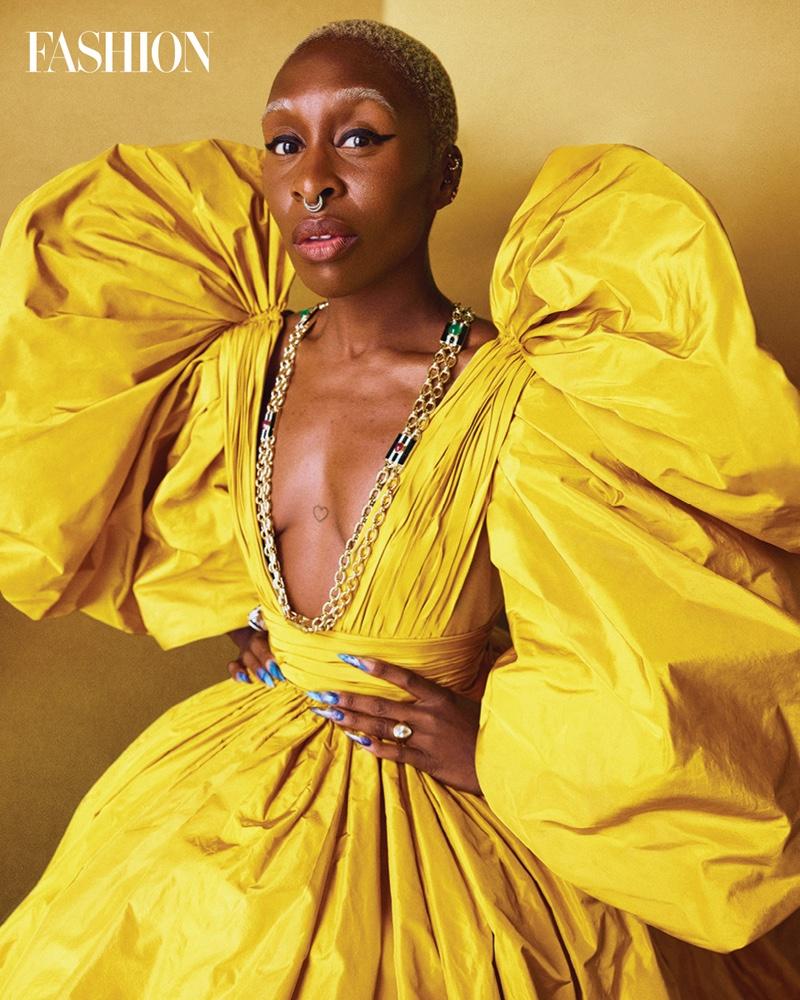 Shining in yellow, Cynthia Erivo wears Valentino dress and David Webb necklace. Photo: Royal Gilbert / FASHION