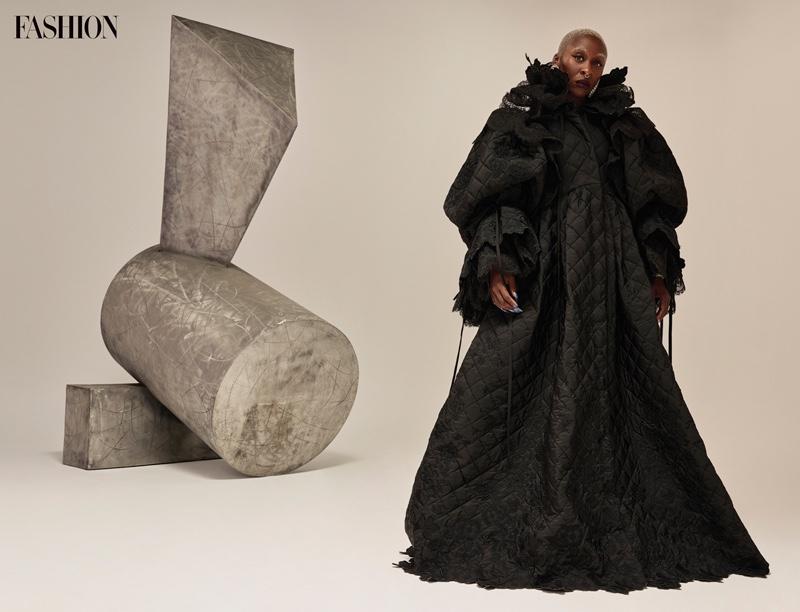 Actress Cynthia Erivo wears Balenciaga coat and earrings. Photo: Royal Gilbert / FASHION