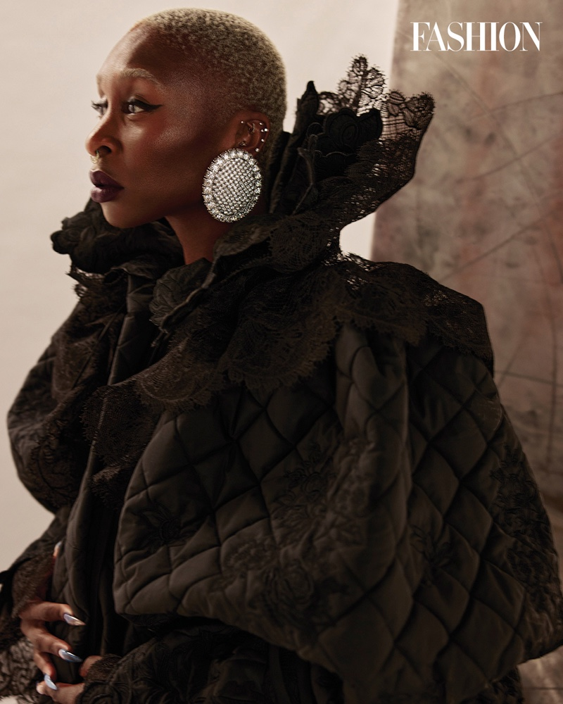 Cynthia Erivo poses in Balenciaga coat and earrings. Photo: Royal Gilbert / FASHION