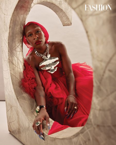 Actress Cynthia Erivo wears red Giambattista Valli dress and Sterling King necklace. Photo: Royal Gilbert / FASHION