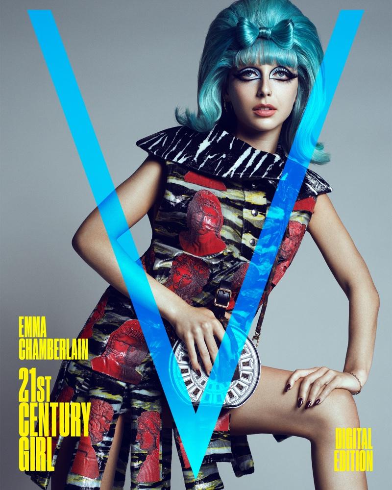 Emma Chamberlain wears Louis Vuitton x  Fornasetti on V Magazine Digital Cover. Photo: Domen & Van de Velde / Courtesy of V Magazine