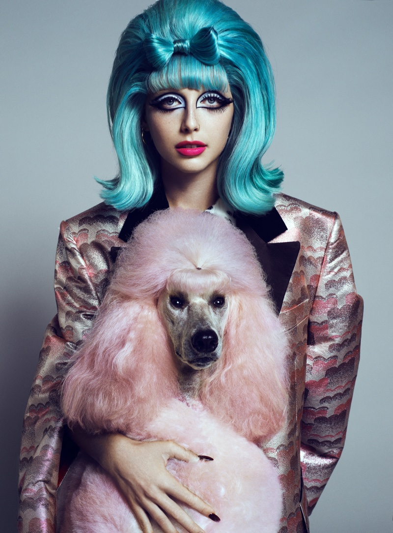 A pink poodle co-stars with Emma Chamberlain in the shoot. Photo: Domen & Van de Velde / Courtesy of V Magazine