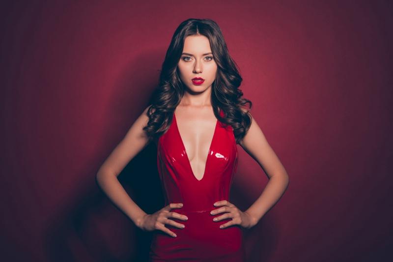 Fashion Model Low Cut Red Dress