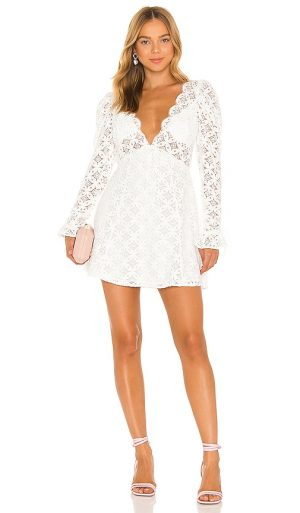 For Love & Lemons Charmaine Mini Dress in White. - size S (also in L, M, XS)