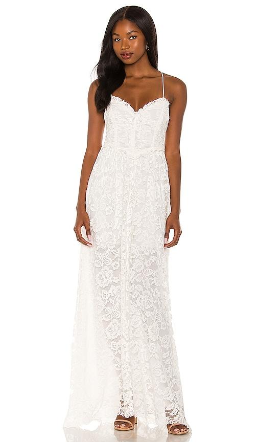 For Love & Lemons Joelle Maxi Dress in White. - size XS (also in L, M, S)