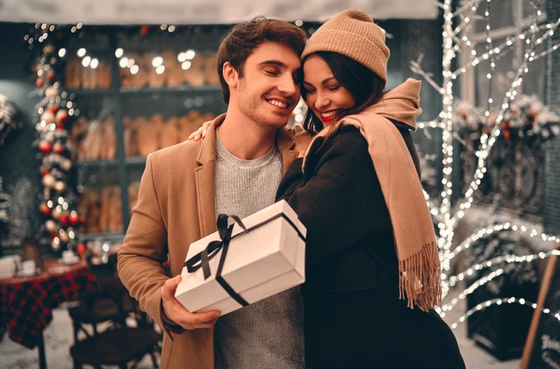 Happy Couple Holidays Man Gift Box Christmas