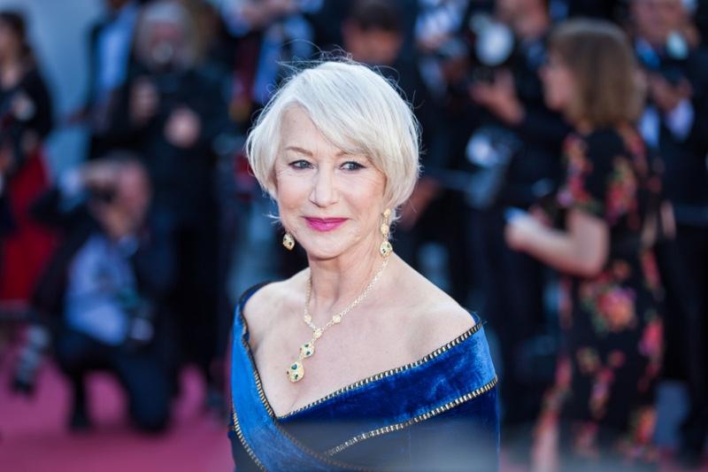 Helen Mirren Grey Hair Jewelry Red Carpet