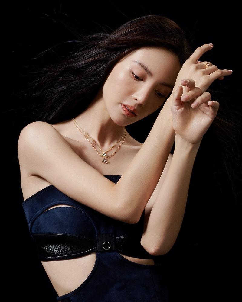 Jin Chen poses for Louis Vuitton LV Volt 2021 jewelry campaign.