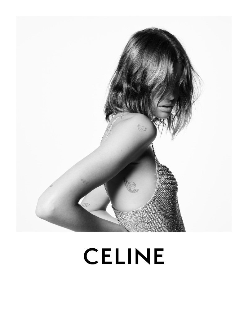 Showing off her tattoos, Kaia Gerber fronts Celine winter 2021 campaign.