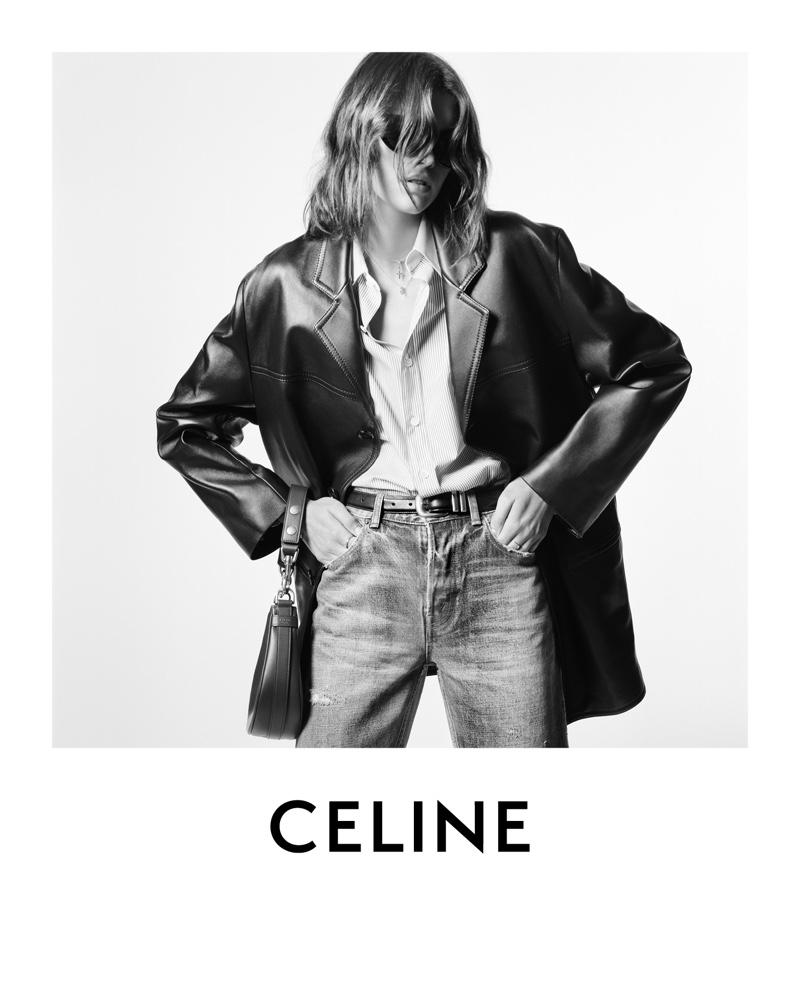 Kaia Gerber models oversized leather jacket in Celine winter 2021 campaign.