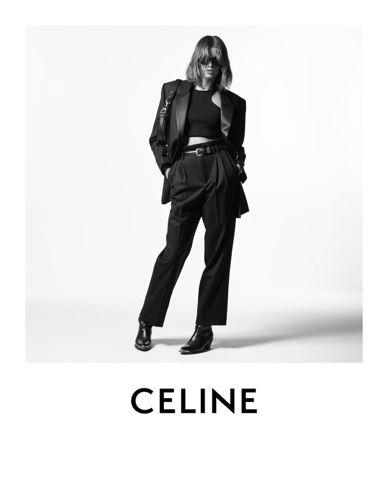 Model Kaia Gerber fronts Celine winter 2021 campaign.