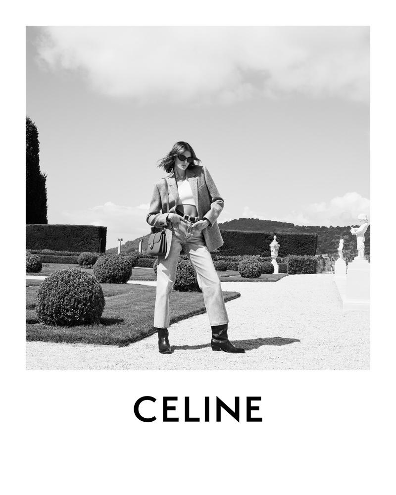 Kaia Gerber poses in Saint-Jean-Cap-Ferrat for Celine winter 2021 campaign.