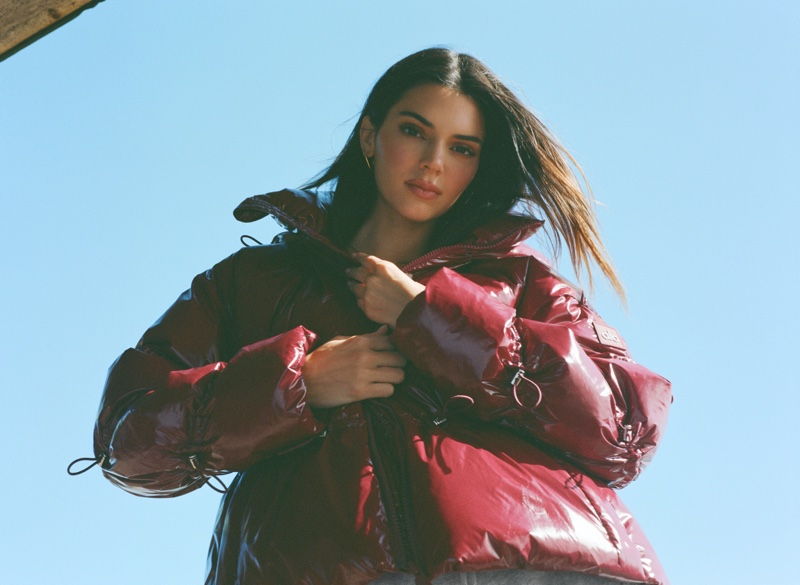 Kendall Jenner wears red style in Alo jackets & coats campaign.