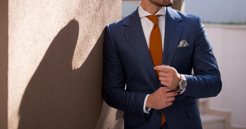 Male Model Blue Suit Orange Tie Cropped