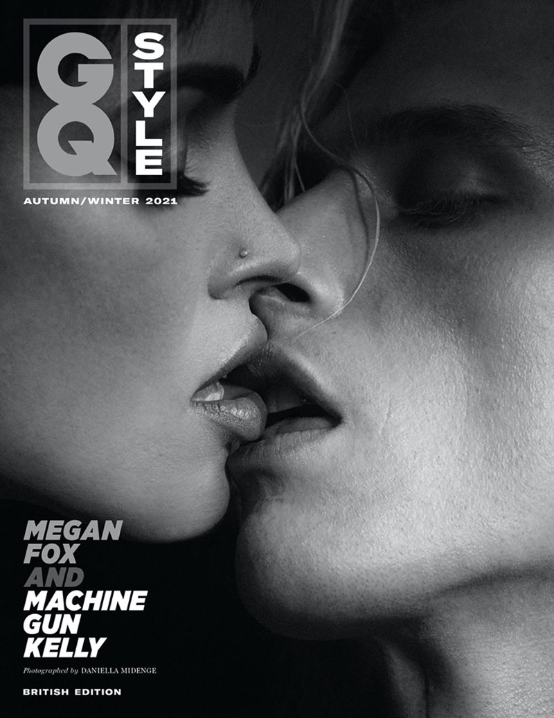 Megan Fox and Machine Gun Kelly share a kiss on GQ Style UK Autumn-Winter 2021 Cover. Photo: Daniella Midenge