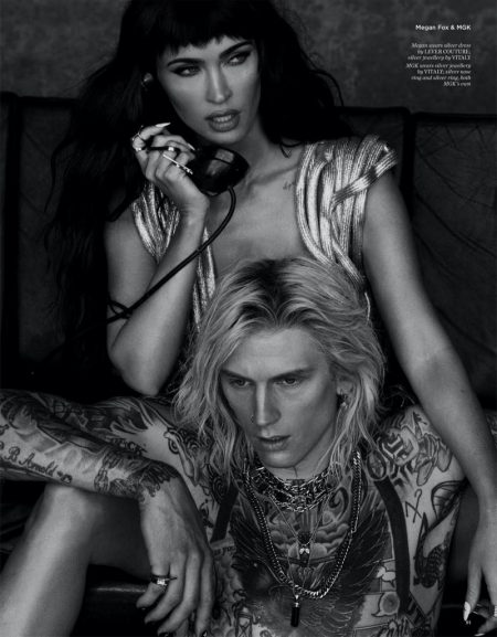 Captured in black and white, Megan Fox wears Lever Couture dress and Vitaly jewelry. Machine Gun Kelly also wears Vitaly jewelry. Photo: Daniella Midenge