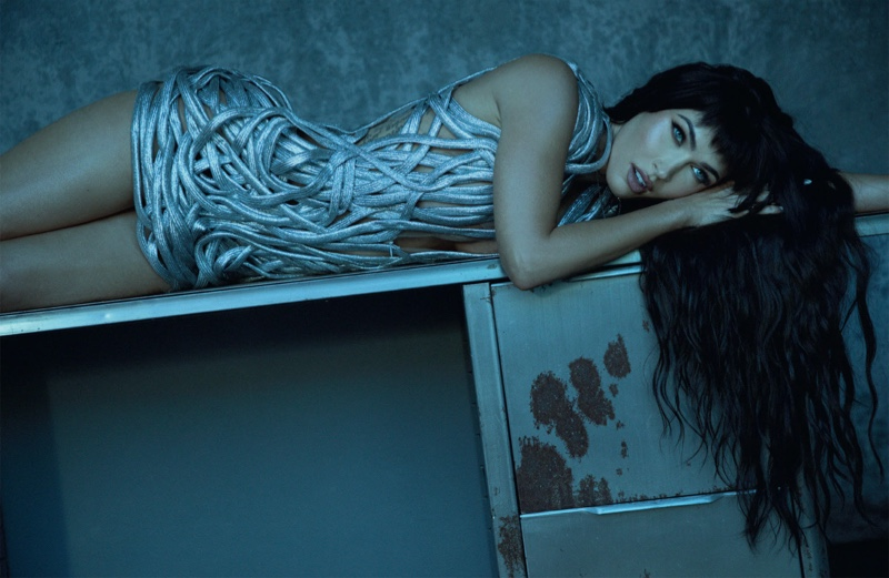 Megan Fox poses in silver Lever Couture dress and Vitaly jewelry. Photo: Daniella Midenge