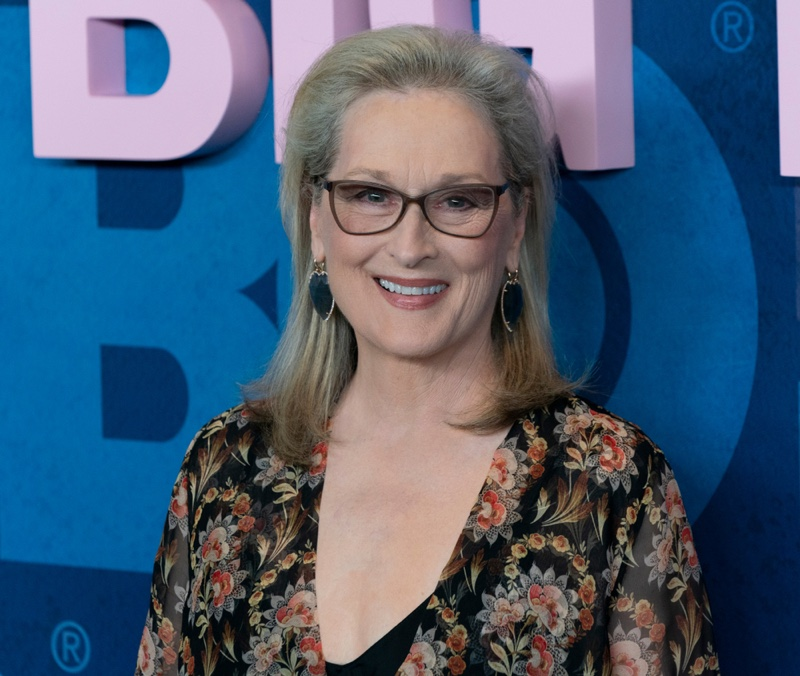 Meryl Streep Grey Hair Blue Earrings Jewelry
