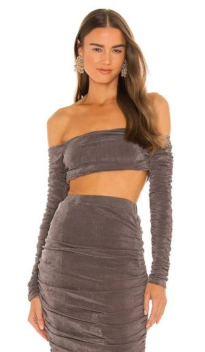 Michael Costello x REVOLVE Jayce Crop Top in Grey. - size XL (also in L, M, S, XS)