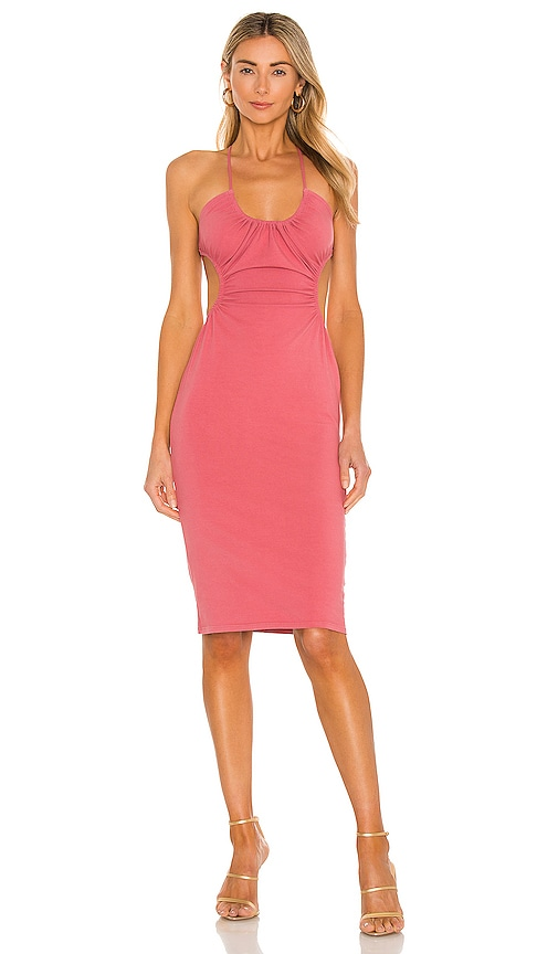 Michael Costello x REVOLVE Mabel Ruched Midi Dress in Pink. - size XXS (also in L, M, S, XL, XS)