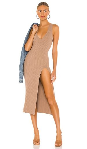Michael Costello x REVOLVE Variegated Rib Bodycon Dress in Taupe. - size M (also in L, S, XL)