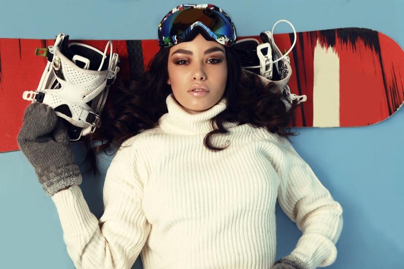 Model Ski Apparel Goggles Sweater Gloves Board