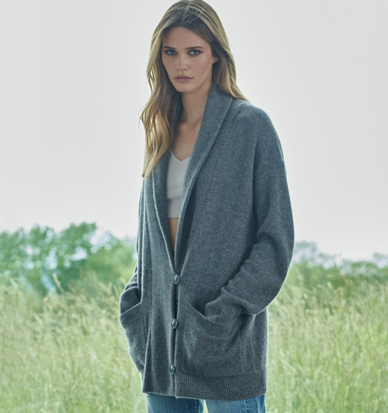 Noel Berry poses for NAKEDCASHMERE NAKED in October 2021 campaign.