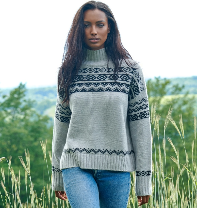 NAKEDCASHMERE features Lucy turtleneck sweater in NAKED in October 2021 campaign.