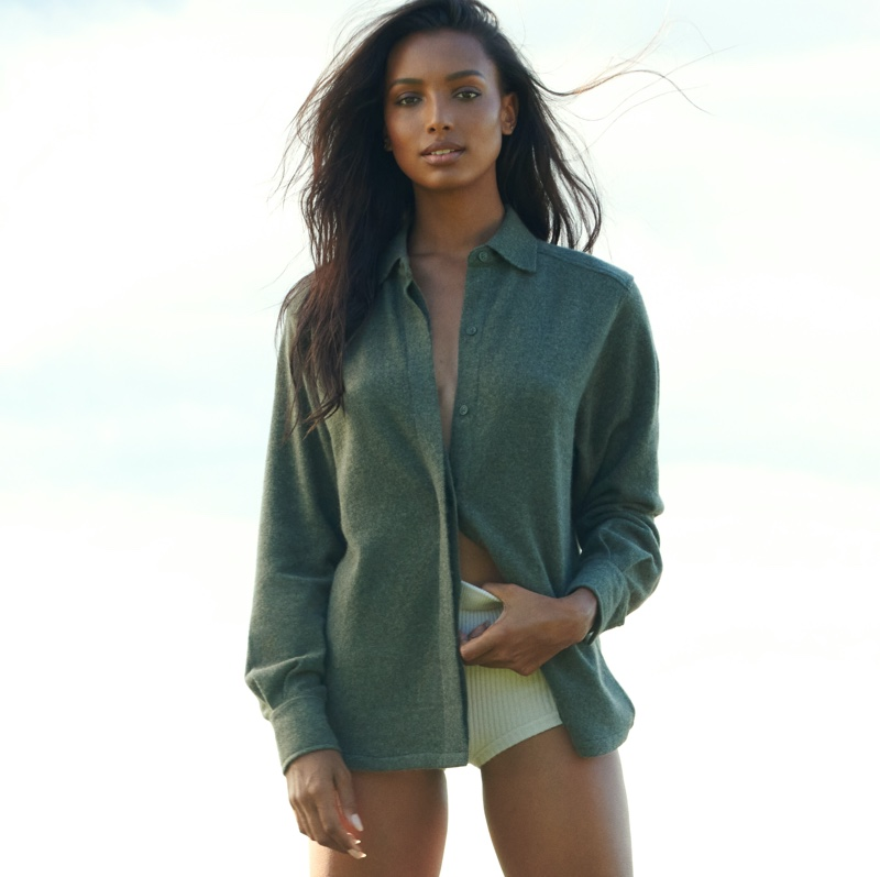 Model Jasmine Tookes fronts NAKEDCASHMERE NAKED in October 2021 campaign.